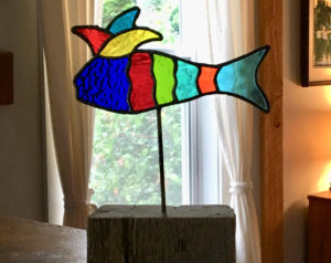 jester fish, stained glass, art